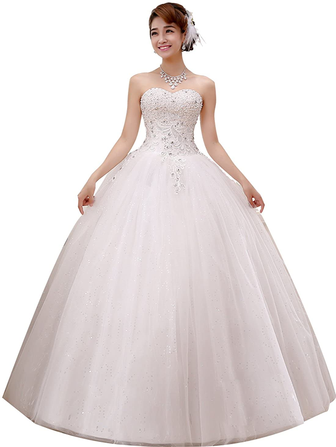 8dd54eb240 obqoo 2019 Gorgeous Sweetheart Beaded Lace Appliqued Ball Gown Wedding  Dress Ivory Pure White at Amazon Women s Clothing store