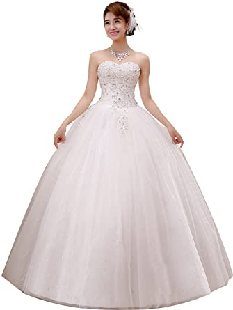 8ec1409bea1 obqoo 2019 Gorgeous Sweetheart Beaded Lace Appliqued Ball Gown Wedding Dress  Ivory Pure White at Amazon Women s Clothing store