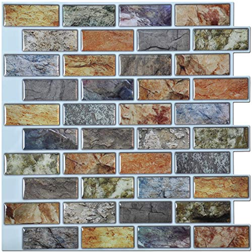 Art3d 10Piece Peel amp Stick Kitchen/Bathroom Backsplash Sticker 12quot X 12quot Faux Ceramic Tile Design
