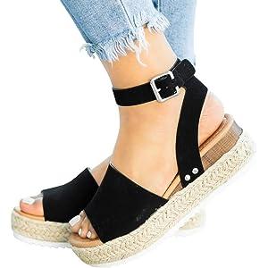 Ermonn Womens Espadrille Platform Wedge Sandals Closed Toe