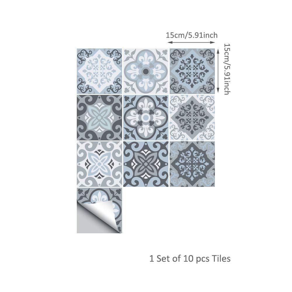 Pegatinas de pared Papel tapiz extra/íble Etiqueta de azulejo Autoadhesiva Impermeable Azulejos a prueba de aceite Arte de pared de vinilo para cocina de ba/ño Arte de la pared Murales