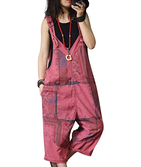 YESNO Women Casual Floral Bib Pants Distressed Ripped Cuts Loose Overalls//Pockets PNF