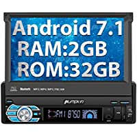 Single Din Head Unit, 32GB + 2GB Android 7.1 Car Stereo with Bluetooth, GPS Navigation, 7 inch Flip Out Touch Screen - Support MirrorLink, WIFI, Backup Camera, AUX input, SD/ USB, Dash Cam