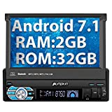 Single Din Head Unit, 32GB + 2GB Android 7.1 Car Stereo with Bluetooth, Support AutoPlay, GPS Navigation, MirrorLink, WIFI, Backup Camera, AUX input, SD/ USB, Dash Cam, 7 inch Flip Out Touch Screen