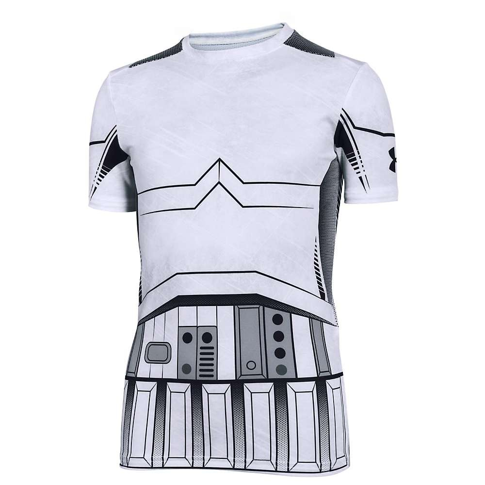 Under Armour Kids Boy's Storm Trooper HeatGear Short Sleeve (Big Kids) White/Steel Shirt by Under Armour (Image #1)