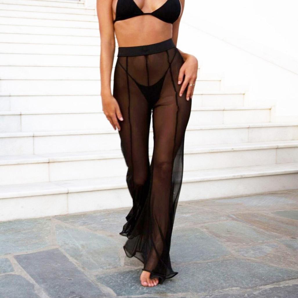 c702e71032 Amazon.com: WILLTOO Womens Swimsuit Cover up Pants,Transparent Long  Trousers Beachwear Pants Mesh Sheer Bikini Swimwear: Clothing