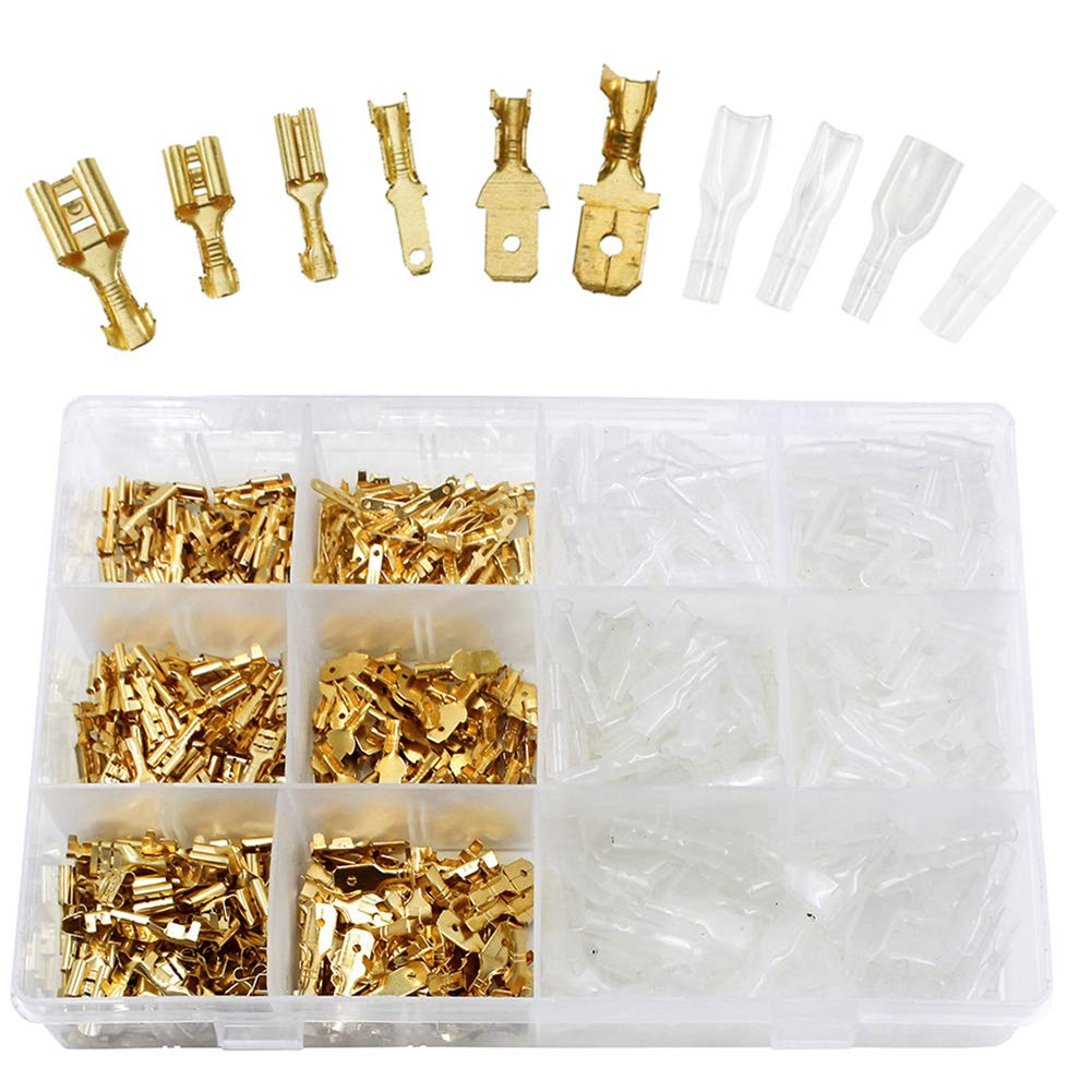 WayinTop 360 Set Male and Female Wire Spade Connector Wiring Electrical Crimp Terminals Block with Insulating Sleeve Assortment Kit 3 Type 2.8mm 4.8mm 6.3mm Quick Splice