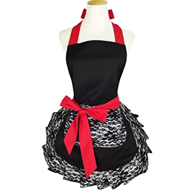 Black Lace Flirty Apron with Pocket, Retro Sexy Kitchen Cooking Apron for Women Girls