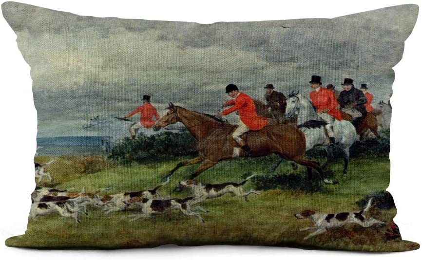 Topyee Throw Pillow Cover 12x20 Inch Randolph Fox Hunting in Surrey 19Th Caldecott Hunt Hunter Home Decor Pillowcase Lumbar Pillow Case Cushion Cover for Sofa Couch Bed