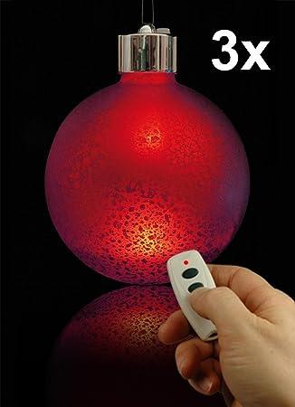 Beleuchtete Weihnachtskugeln.3 Beleuchtete Weihnachtskugeln Glaskugeln Deko Kugeln Mit Led