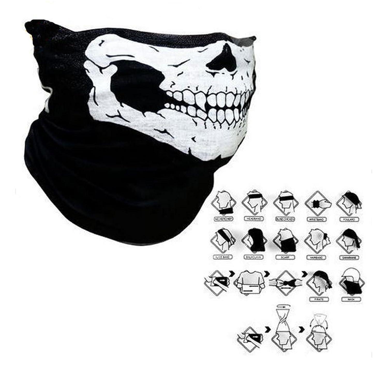 Skull Multi Bandana für Skifahren Motorrad Sport Kostüm lang Neckwarmer