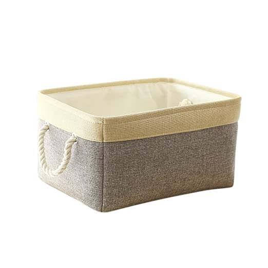 TheWarmHome Grey Patchwork Fabric Foldable Storage Cube for Toys with Cotton Rope Handles