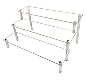 Acrylic Riser, Display Stand Display Shelf Clear Display Riser Compatible with F Pops Figures Cupcake Food Desserts Holder Collections Cosmetic Products Tabletop Use Design in US