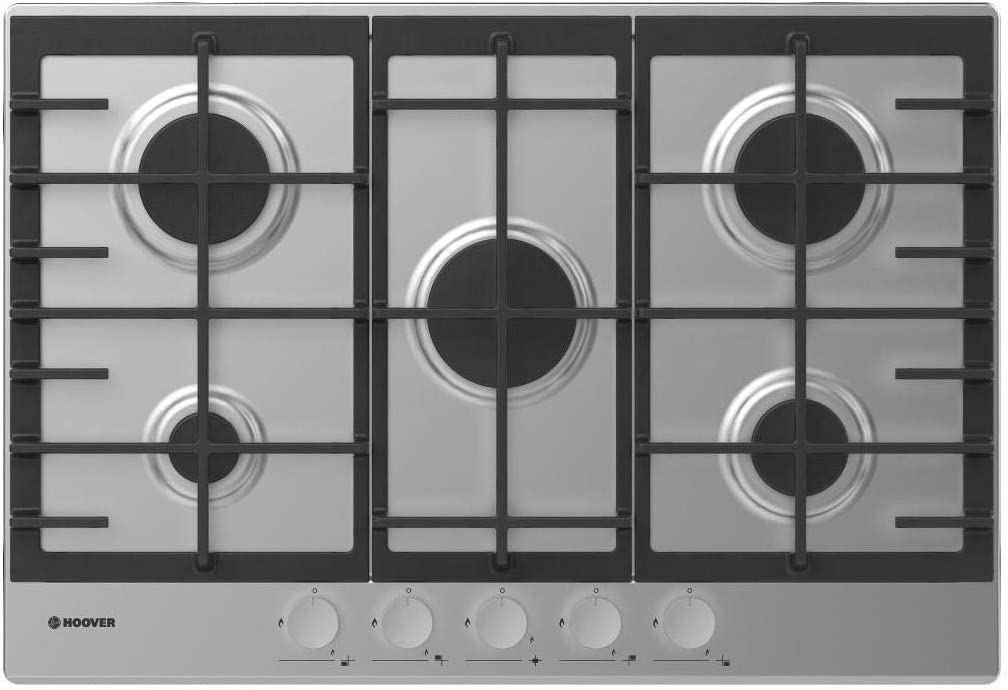 Hoover HHG7MX 75cm Five Burner Gas Hob With Cast Iron Pan Stands Stainless Steel