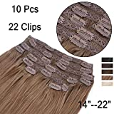 GEX 14-22″ 220g 100% Human Hair Extensions Full Head Lace Clip In with 10 Separate Pieces (Total 22 Clips) Silky Straight Remy Brazilian Hair Color6# Light Brown 22″