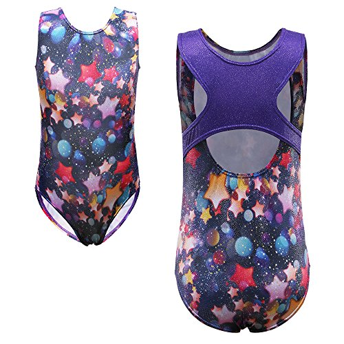 TFJH One-piece Sparkle Dancing Gymnastics Athletic Leotard for Little Girl Star 12A