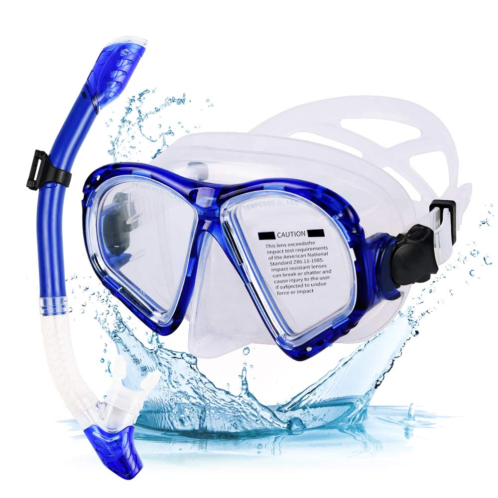 Mosheng 2019 Newest Dry Snorkel Set Anti-Fog Snorkel Mask Impact Resistant Tempered Glass Diving Mask Panoramic Wide View, Dry Snorkel with Food-Grade Silicone for Snorkeling Adults & Youth by Mosheng