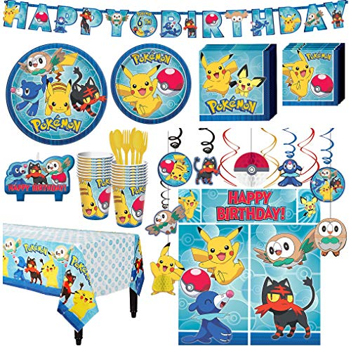 (Party City Pokémon Core Birthday Party Kit, Includes Happy Birthday Banner & Decorations, Serves)
