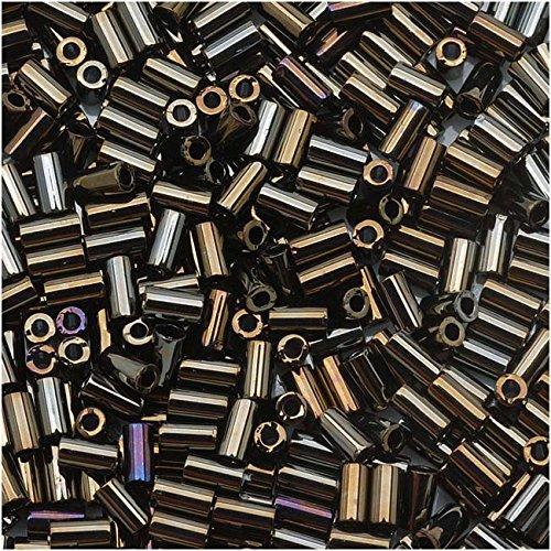 Toho Bugle Tube Beads Size #1 / 2x3mm Metallic iris Brown 8 Grams ()