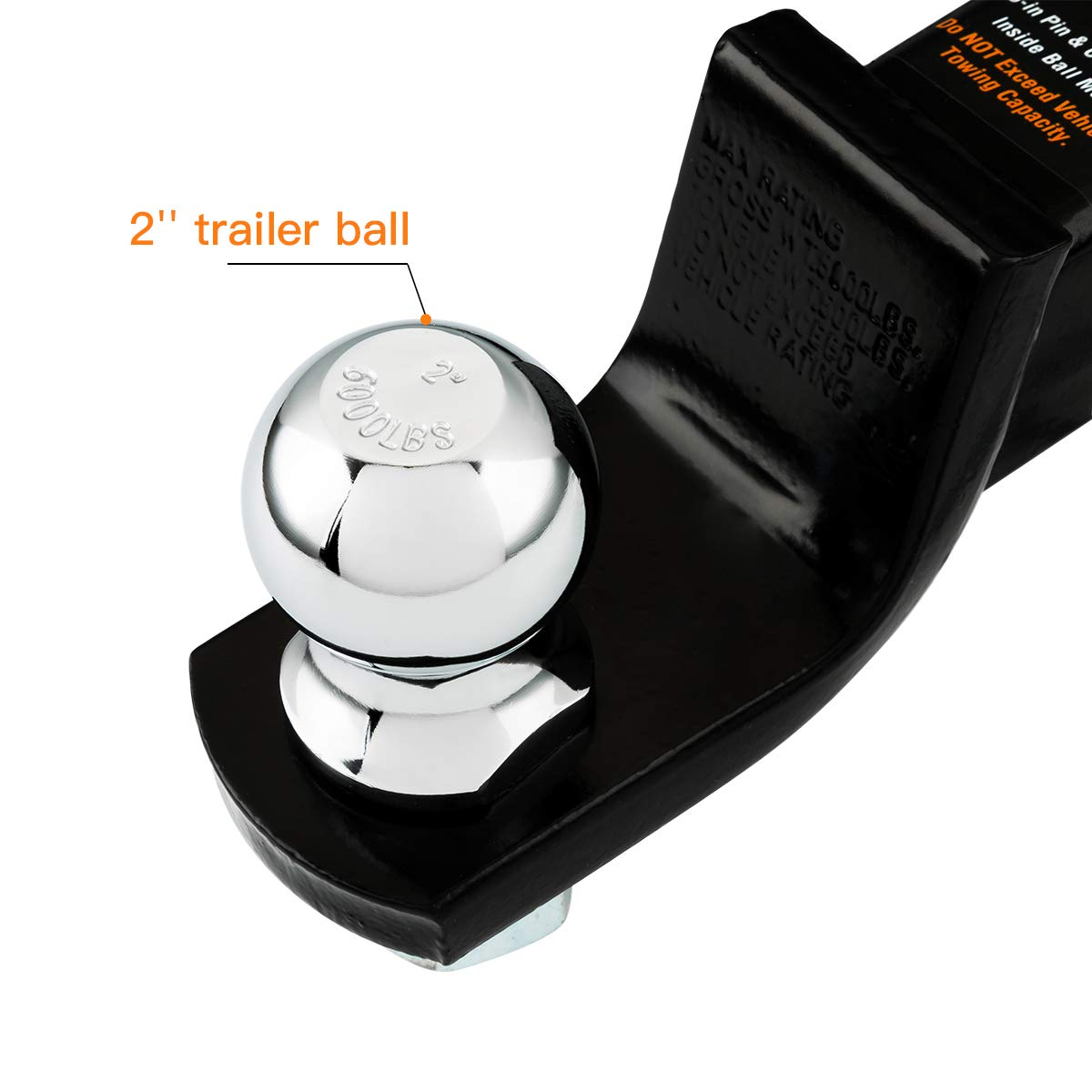 TS2003 TOPSKY Trailer Ball Mount Hitch with 2 Inch Ball Hitch Hollow Shank fits 2 Hitch Receiver Pin Black Ball 6,000lbs GTW