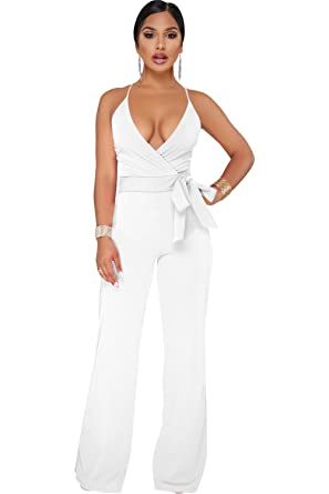 ffa36ff43c8 Amazon.com  Gobought Womens V Neck Elegant Jumpsuits Spaghetti Straps Wide  Leg Long Rompers with Belt  Clothing