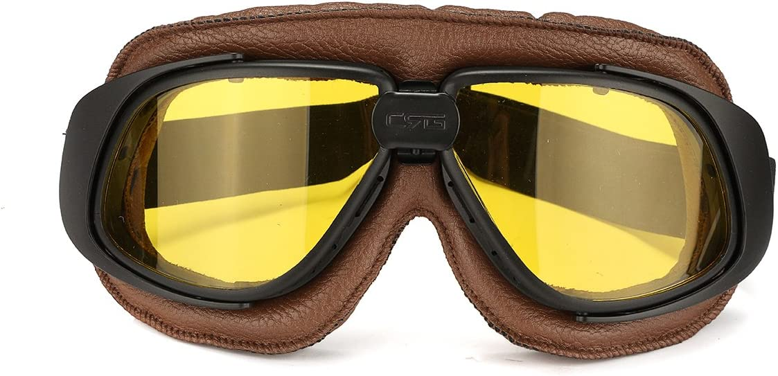 Grey Forspero Motorcycle Retro Goggles Flying Scooter Helmet Windproof Glasses Anti-Uv Brown Frame