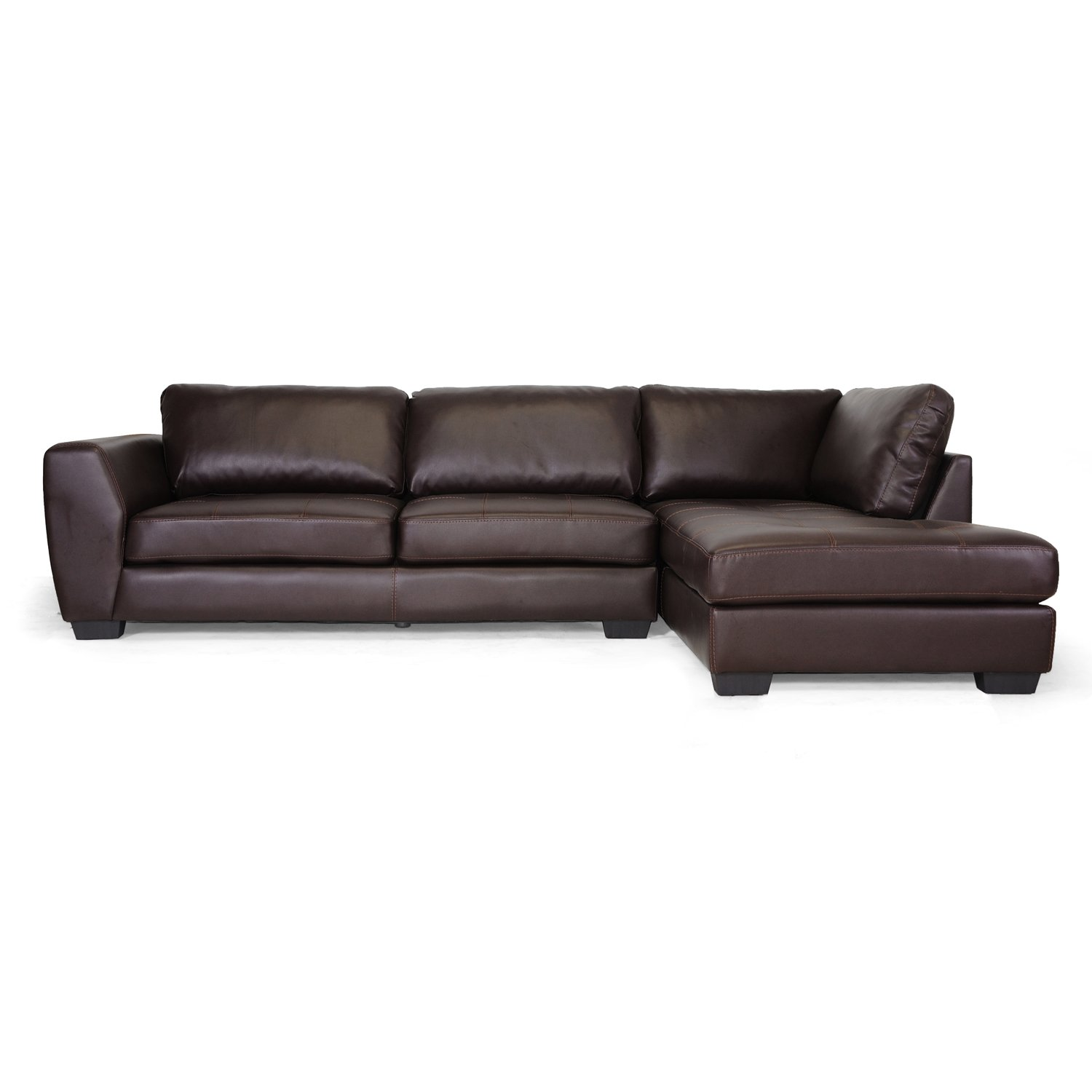 Amazon.com: Baxton Studio Orland Bonded Leather Modern Sectional Sofa Set  With Right Facing Chaise, Brown: Kitchen U0026 Dining