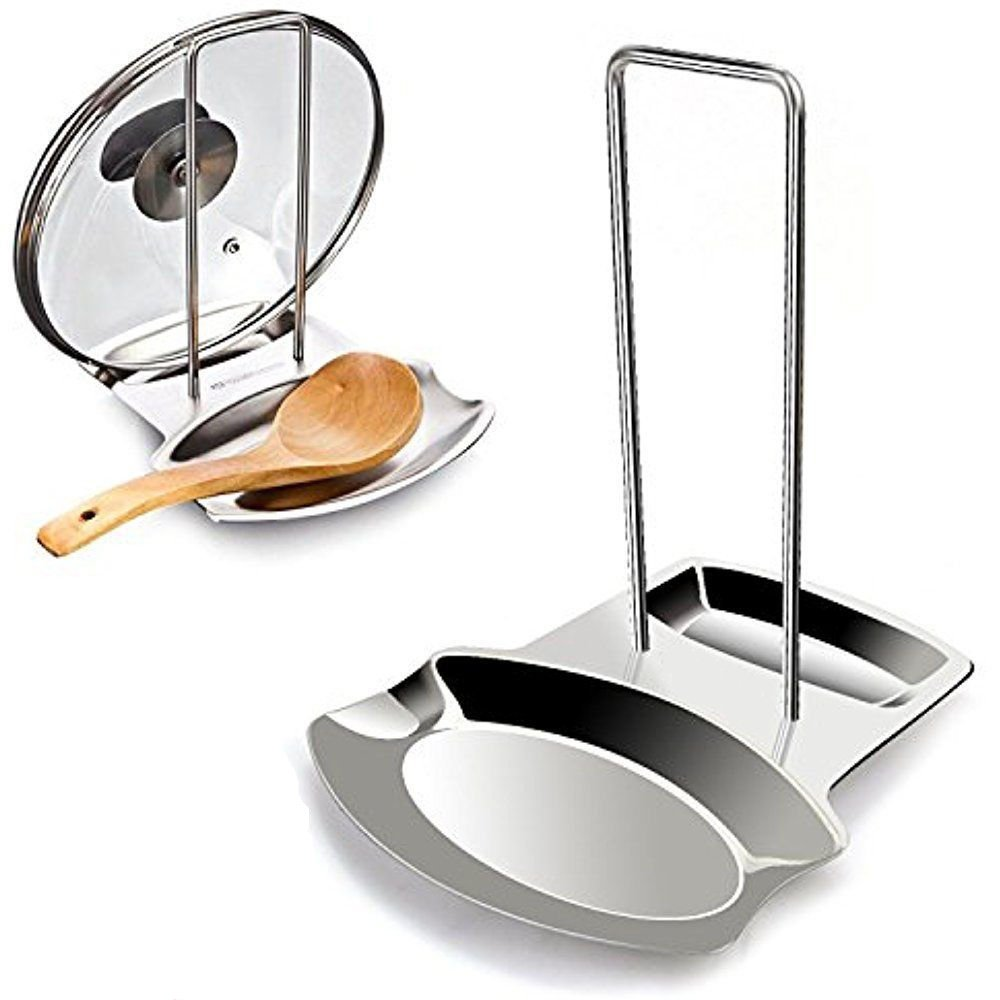 Denshine Pan Pot Cover Lid Rest Stand, Spoon Holder Stainless Steel Stove Organizer Storage Soup Spoon Rests Pot Cover and Spoon Shelf for Kitchen