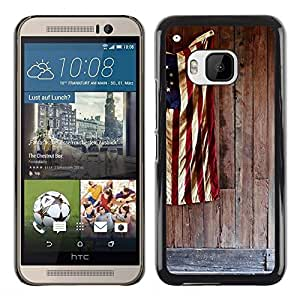 Be Good Phone Accessory // Dura Cáscara cubierta Protectora Caso Carcasa Funda de Protección para HTC One M9 // Patriotic Flag White Red Blue