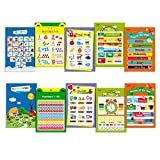 10 LAMINATED Educational Posters for Toddlers ,13'' X 19'',Includes: Alphabet, Farm Animals, Colors, Shapes, Days of the Week, Months of the Year,Number 1-10,Numbers 1-100,Seasons&Weather,Time
