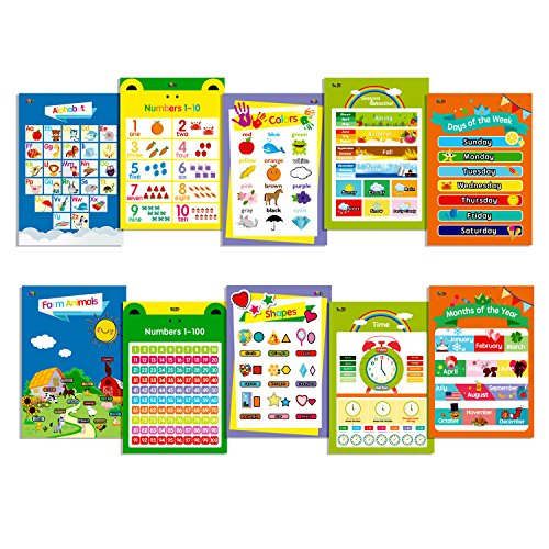 10 Laminated Educational Posters for Toddlers,13 X 19,Includes: Alphabet, Farm Animals, Colors, Shapes, Days of The Week, Months of The Year,Number 1-10,Numbers 1-100,Seasons&Weather,Time