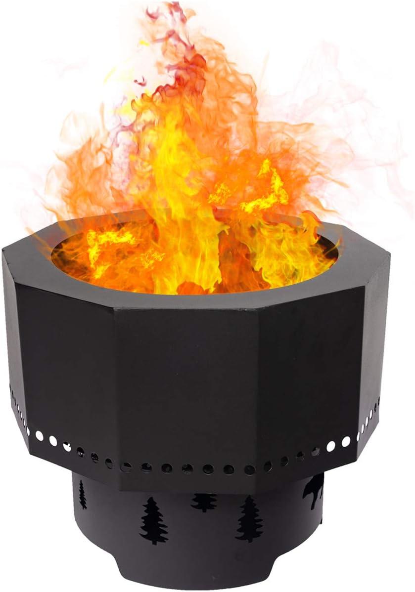 15.7 x 15.7 x 12.6 Kinsunny Outdoor Smoke-Free Fire Pit Ring Portable Folding Backyard Wood Pellet Burning Bonfire Bear Christmas Tree Decorate