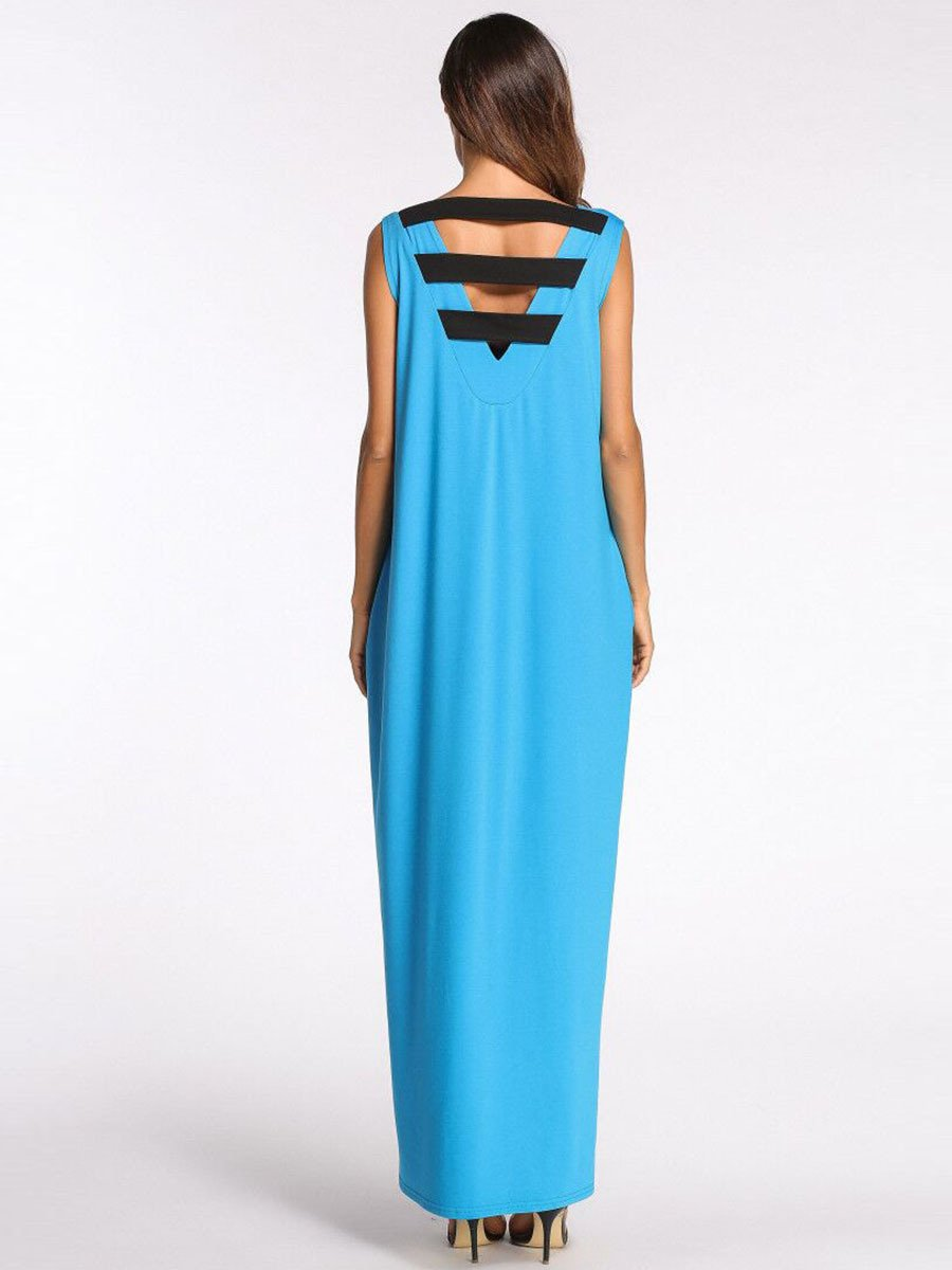 Abiti ASGHILL Abito Fashion Contrast Colour Mosaic Backless Dress Long Skirt Abiti Musulmani