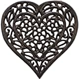 Cast Iron Heart Trivet - Decorative Cast Iron Trivet For Kitchen Or Dining Table - Vintage, Rusted Design - 6.75X6.5'' - With Rubber Pegs/Feet - Recycled Metal - Rust Brown Color - by Comfify