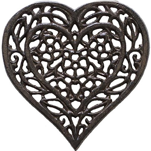 (Cast Iron Heart Trivet - Decorative Cast Iron Trivet For Kitchen Or Dining Table - Vintage, Rusted Design - 6.75X6.5