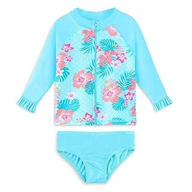 HUAANIUE Traje de Baño para Bebé Niña Dos-Piezas Zip Rash Guard Protección Solar Traje de baño UPF 50+ Natación Bañarse Ropa de Playa 3M-6Años