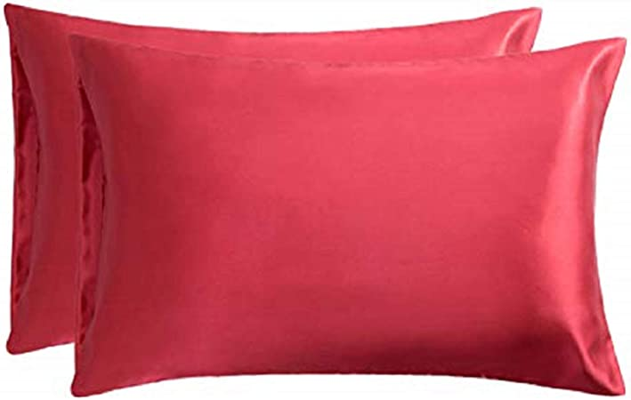 Bedsure Pillowcase Set Satin Pillowcases for Hair and Skin, Pack of 2 Pillow Cover Standard Size (50 x 75 cm), Red: Amazon.co.uk: Kitchen & Home