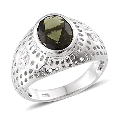 J FRANCIS Women Platinum Plated 925 Sterling Silver Made with Swarovski® Zirconia Cocktail Ring Size M ucT16
