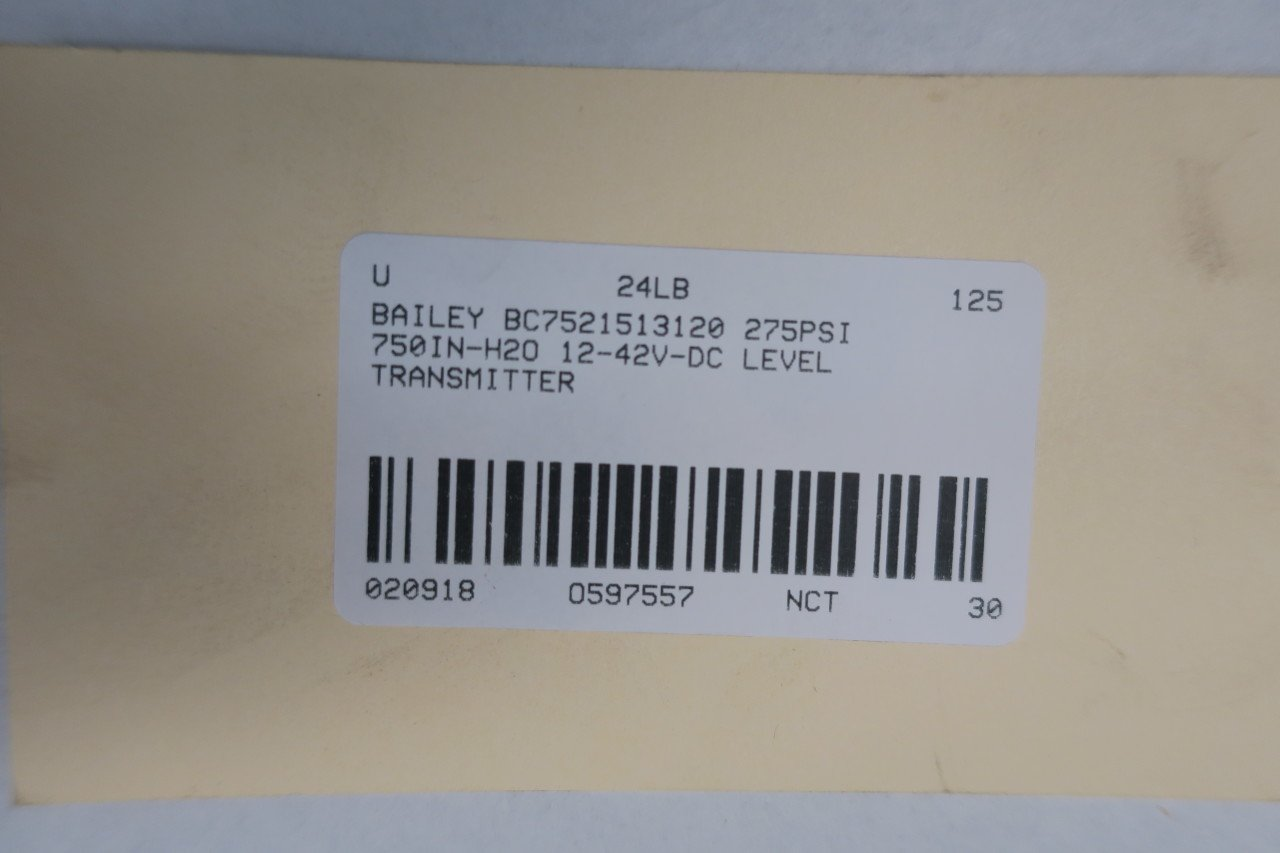 BAILEY BC7521513120 Level Transmitter 275PSI 750IN-H2O 12-42V-DC D597557