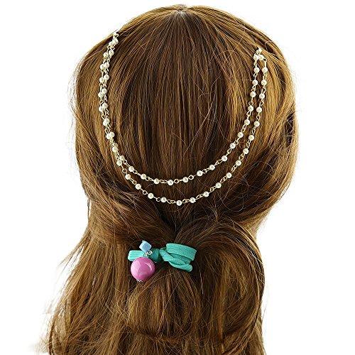Sumanee Hair Jewelry Designer Simulated Pearl Chain Barrette Clip Headbands Boho Hair (Tiffany Barrette)