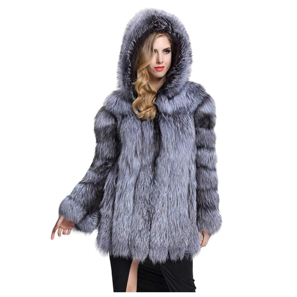 HebeTop Women Luxury Winter Warm Fluffy Faux Fur Short Coat Jacket Parka Outwear Gray by ▶HebeTop◄➟HOT SALES