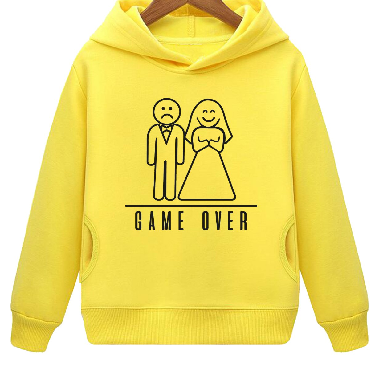Kids Two Pockets Bachelor Party Funny Wedding Game Over Humor Hoodie (3T,Yellow)