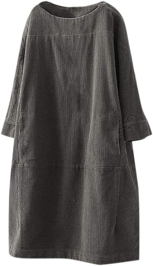 Huaya Women Vintage Long Tshirt Mini Dress Pockets Corduroy Solid Color Long Sleeve O-Neck Loose Casual Dress Mid Long Leisure Dresses