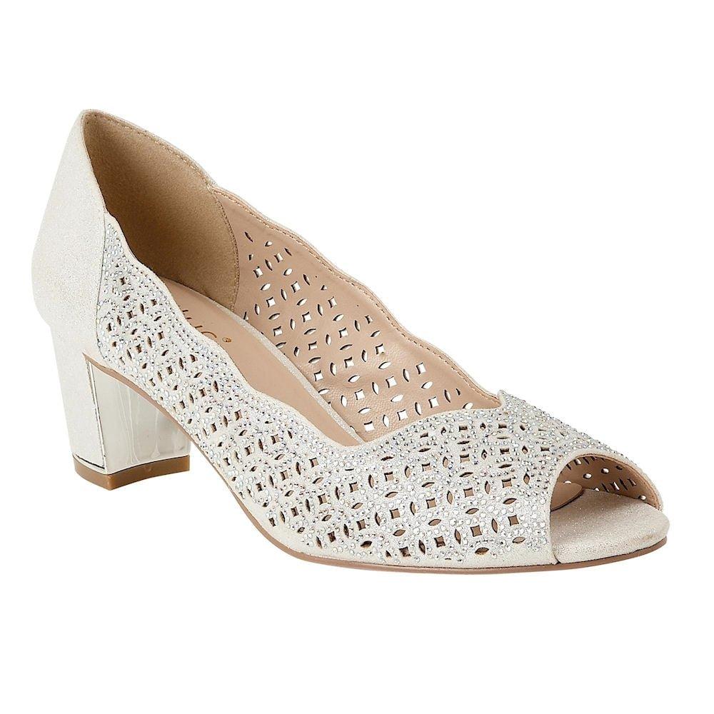3d61b967b77451 Lotus Womens Silver Diamante  Attica  Mid Block Heel Peep Toe Shoes   Amazon.co.uk  Shoes   Bags