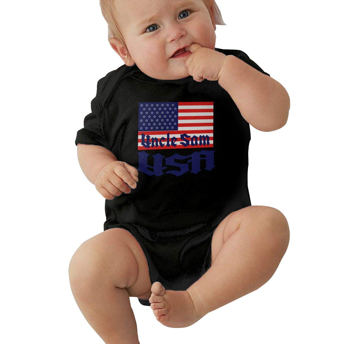 Toddler Baby Girls Bodysuit Short-Sleeve Onesie USA Uncle SAM Flag Print Rompers Summer Pajamas