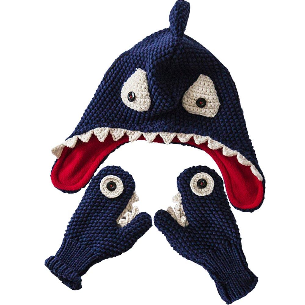 E.mirreh Warm Hat and Gloves Baby Toddler Boy Handmade Shark Blue 1614c-s