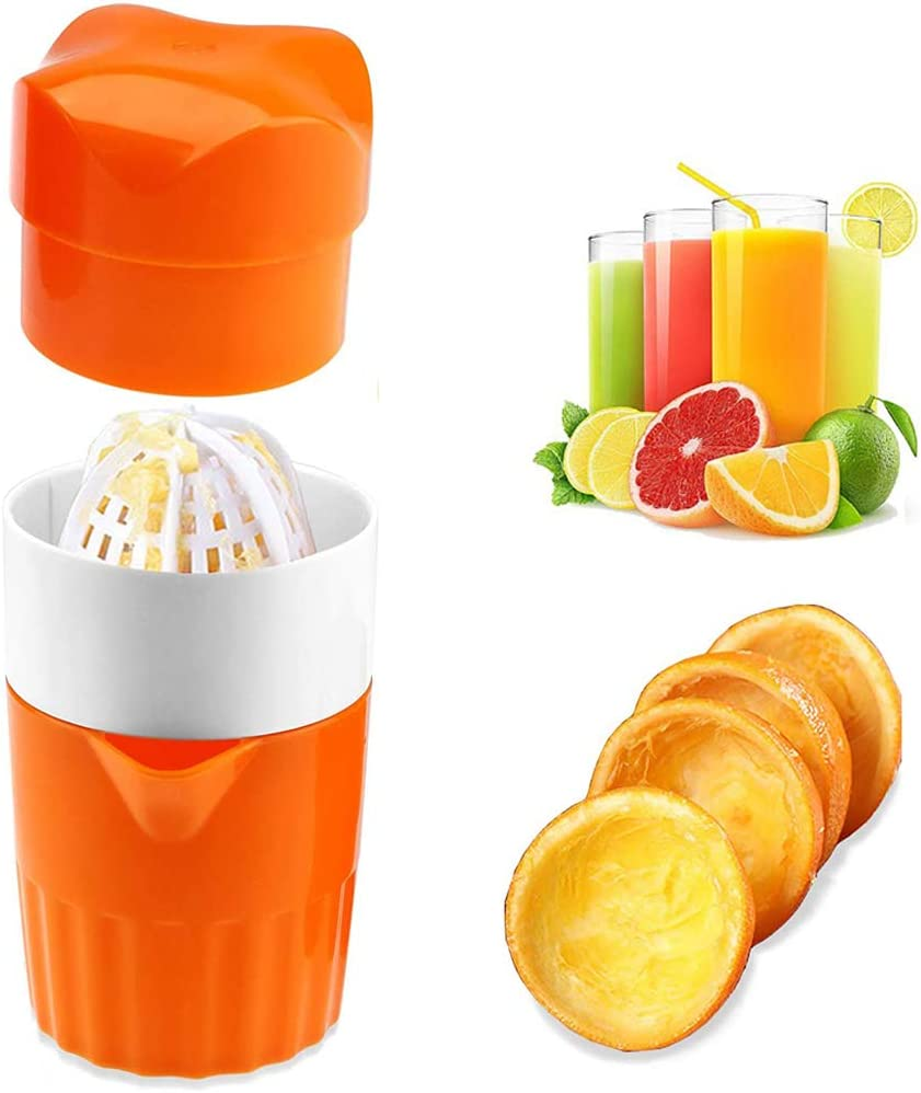Lemon Squeezer Citrus Juicer,Hand Juicer Manual Lid Rotation Press Reamer with Strainer and Container for Lemon,Orange,Citrus (Orange) (Orange)
