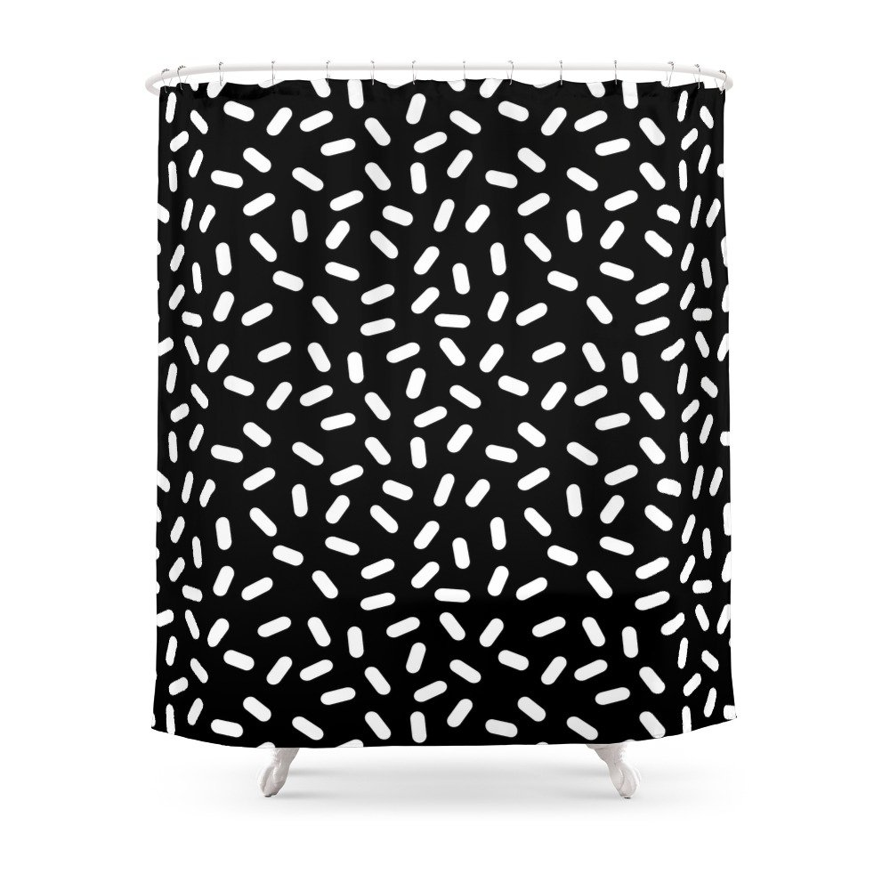 Society6 Bingo - Black And White Sprinkle Retro Modern Pattern Print Monochromatic Trendy Hipster 80s Style Shower Curtain 71'' by 74'' by Society6