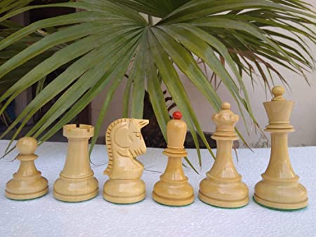 194 Boxwood Lacquered 4 Chess Set