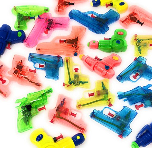 4E's Novelty 25 Pack Small Squirt Water Guns Bulk Assortment, Summer Pool & Beach Party Favor Pack, Outdoor Fun Toys, for Kids Boys & Girls, Birthday Parties Supplies, Assorted water guns